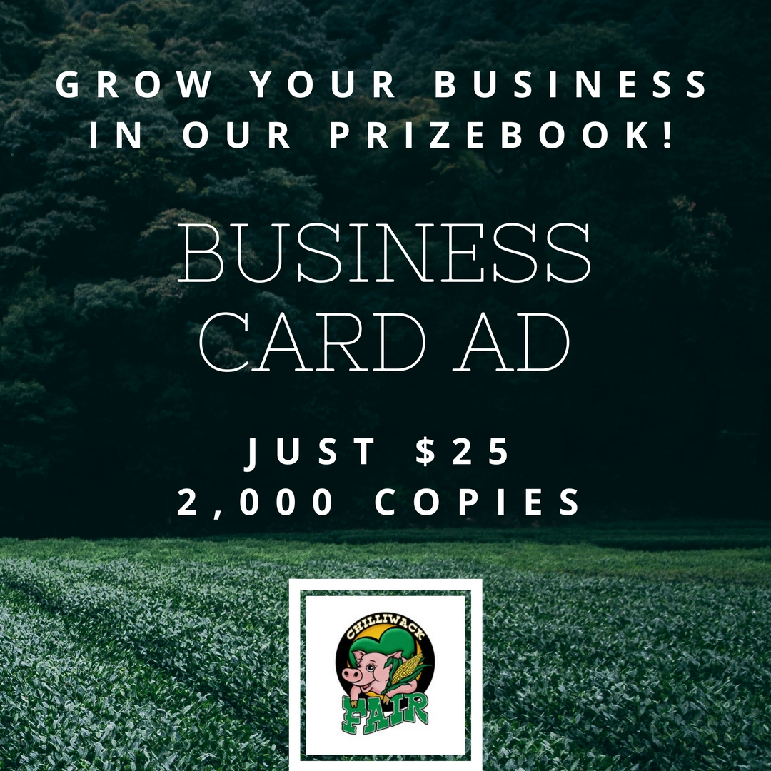 Prize Book Business Card Ads just $25 – The 146th Annual Chilliwack Fair